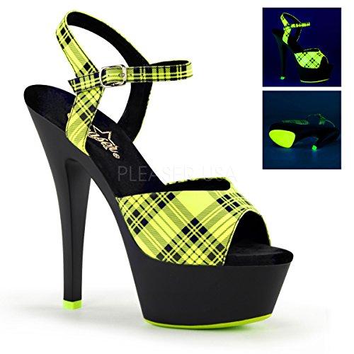 Pleaser Damen Kiss-209pl Plateausandalen Neon Lime Plaid Faux Le/Blk Matte
