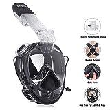 Unigear Tauchmaske Schnorchelmaske Einheitsgröße, Vollgesichtsmaske Tauchmaske Erwachsene und Kinder ab 12, Kamerahaltung+ Aufbewahrungstasche,MEHRWEG (Schwarz)