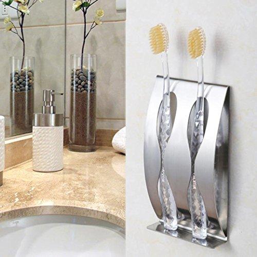 Glas-antik-zahnbürste-halter (Upxiang Wand-Zahnbürstenhalter, Edelstahl-Bad-Zahnbürste Rasierer-Halter, Wandhalterung, Stand-Sticking Zahnbürstenwandmontage ohne Bohren (Zwei Lochhalter))