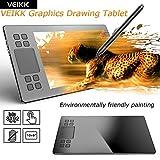 Tableta de dibujo de gráficos, Tableta digitalizadora VEIKK A50, Tablero de dibujo de escritura electrónica portátil Doodle Pads, Con 8192 niveles Presión Batería sin lápiz Stylus para profesionales
