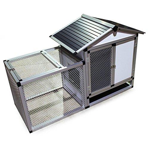 Aluminium Kleintierstall Tierkäfig mit Freigehege Hasenstall Tierhaus Stall Käfig
