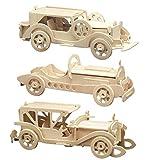 matches21 3D Oldtimer Autos Holz Bausätze 3er Set Sunbeam SSKL V8 Holzbausätze Bastelset Steckbausätze Kinder ab 8 Jahren