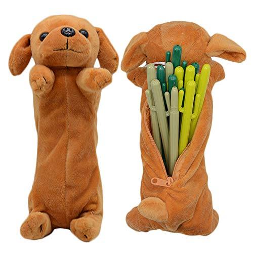 3D Hund Form Bleistift Federbeutel, niedliche weiche Plüschtier Geschenke für Kinder -