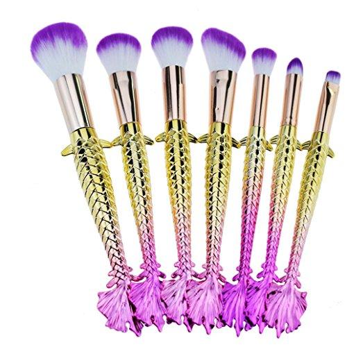 ESAILQ 7 Pièces de Pinceaux Maquillage, Sirène Makeup Brushes Maquillage Brosse Ensemble Synthétique Kabuki Fondation Mélange Fard à joues Traceur yeux Visage Poudre Maquillage Brosse Kit (B)