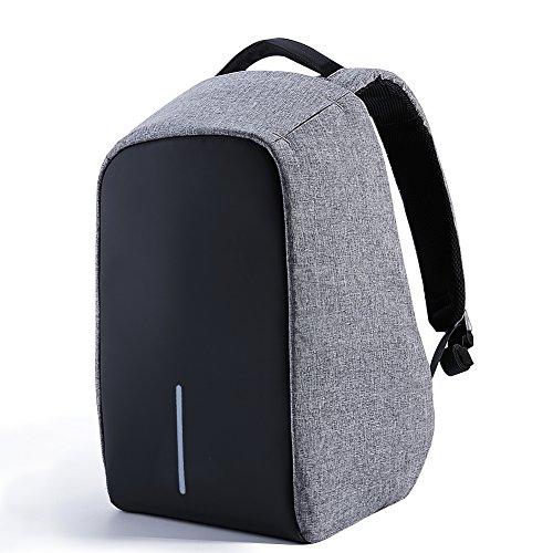 Preisvergleich Produktbild Daypack Rucksack Damen Herren Backpack mit 15,6 zoll Laptopfach USB-Ladeanschluss für Arbeit Campus Studenten Reise Business (Grau)