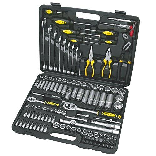Proteco-Werkzeug® Profi-Steckschlüsselsatz Steckschlüsselkasten 1 4 und 1 2 Zoll 128 Teile Ratschenkasten Knarrenkasten