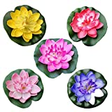 VORCOOL 5pcs Artificiale Ninfea galleggiante Lotus Fiore Stagno Casa Matrimonio Decorazione 10 cm