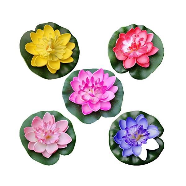 VORCOOL 5pcs Lirio de Agua Artificial Flotante Estanque de Flores de Loto Casa Boda Decoración 10cm