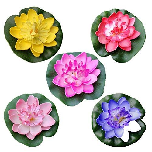 Clispeed 5pcs galleggianti fiori artificiali ninfee eva galleggiante lotus pond decor 10 cm (rosso/giallo/blu/rosa/rosa chiaro)