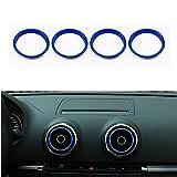 VIGORFLYRUN PARTS LTD 4 Stücke Auto Lüftungsringe Klimaanlage Air Vent Outlet Ring Abdeckung Trim für A3 S3 2013-2016 / Q2 2017 - Blau