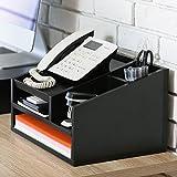 Fitueyes Support Téléphone avec Multi-Rangement pour Ranger les Affaires de Bureau en Bois Noir TR303501WB