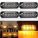 4 x LED Feux Stroboscopique,4 LED Lampe Flash Stroboscope Gyrophare LED Feux Pénétrations Avant Voyant d'Alarme Urgence Strobe Ambre 12V/24V pour Voiture Camion Remorque