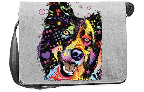 order Collie ::: peppige Umhängtasche mit Art Style Hunde Motiv ()