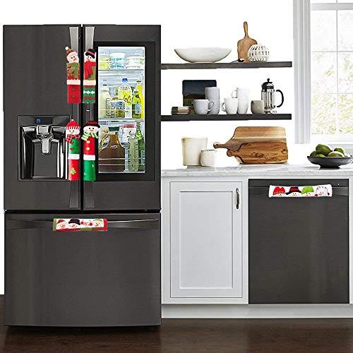 6 x Kühlschrank-Griffabdeckungen Weihnachtsdekoration Schneemann Küchengeräte Griffe für Kühlschrank Mikrowelle Backofen Spülmaschine Türgriffe für Weihnachten Feiertage 6er-Pack