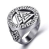 YEBENI Joyería Valknut Scandinavn Odin símbolo nórdico Vikingo Lobo de Plata para Hombre del Acero Inoxidable de la Manera del Anillo
