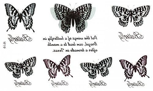 Look like real e impermeabile non tossico tatuaggio adesivo bella nero e bianco farfalle con scritta in lingua inglese