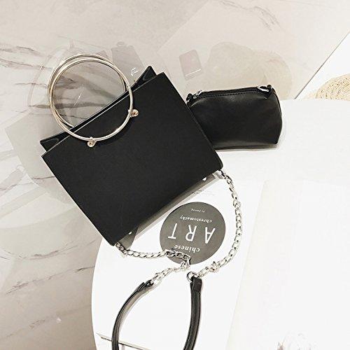 Weibliche metall Ring Frosted handtasche kleine quadratische tasche messenger bag Schwarze Trompete