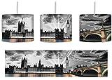 wunderschöne Westminster Abbey mit Big Ben schwarz/weiß inkl. Lampenfassung E27, Lampe mit Motivdruck, tolle Deckenlampe, Hängelampe, Pendelleuchte - Durchmesser 30cm - Dekoration mit Licht ideal für Wohnzimmer, Kinderzimmer, Schlafzimmer