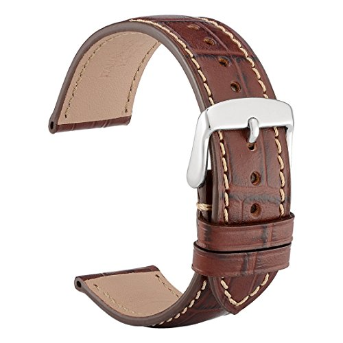 WOCCI 20mm Alligator Geprägtes Leder Uhrenarmband, Echtlederarmband Italien mit Schnalle Silber (Braun mit Kontrastnaht)