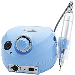 Crisnails® Torno de Manicura Profesional de 30.000 RPM con 6 fresas Peluquería MultiColores Nail Polisher (Azul)