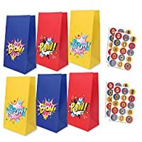yizeda 24 Packs Superhero Party Goodie Bags with 30 Superhero Theme Stickers, Favor Bags Candy Bags Treat Bags Gift Bags for Boys & Girls Birthday Party, Theme Party Supplies Decorations