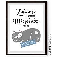 ABOUKI lustiger Kunstdruck - ungerahmt - mit Katzenmotiv und Statement