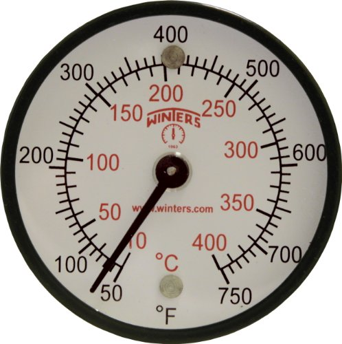 Winters TMT Series Steel Dual scale Surface Magnet Thermometer, 2 Dial Display, +/-2% Accuracy, 50-750 F/C Range by Winters Dual Scale Dial