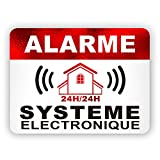 Autocollants dissuasifs Alarme Stickers Alarme sécurité 8x6cm Lot DE 12