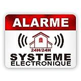 Autocollants dissuasifs Alarme Stickers Alarme sécurité 8x6cm Lot DE 12...