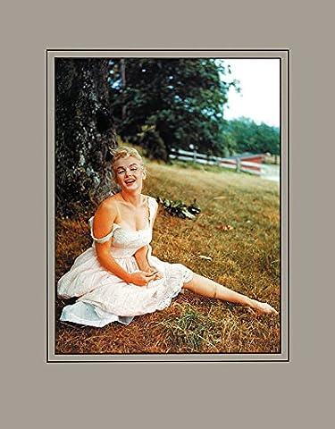 Sam Shaw Poster Kunstdruck Bild Marilyn Monroe, 1958 (auf Wiese mit Rand in grau) 50x40cm