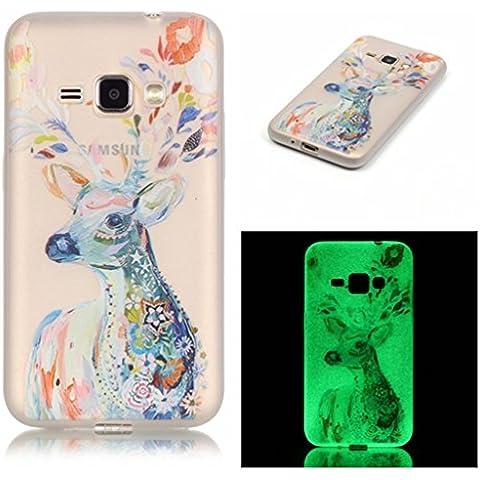 Case Cover For Samsung Galaxy J1 (2016 Version) SM-J120,Remidy Animali pittura Soft TPU Silicone Trasparente (277 Di Cristallo)