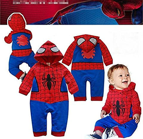 BABY BOY GIRL SUPERMAN BATMAN SUPERGIRL SPIDERMAN BATGIRL BABY GROW FUNKY CUTE FANCY DRESS OUTFIT COSTUME ROMPER SUIT GIFT (6-12 MONTHS, SPIDERMAN LONG