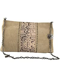 Trysco Women/Girls Evening/Party Genuine Leather Khaki Sling Bag