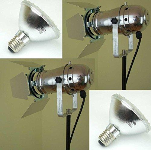 2 x PAR 30 Spot-Light Scheinwerfer SILBER polish PAR-30 incl. Torblende, 75 Watt Leuchtmittel & Kabel mit Schuko-Stecker sowie Farbfilter-Rahmen