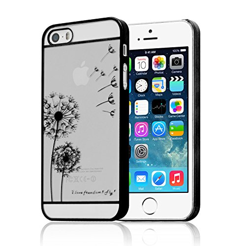 iProtect Schutzhülle Apple iPhone 5, 5s, SE Hülle Walking Dog Edition transparent pink Schwarz Pusteblume