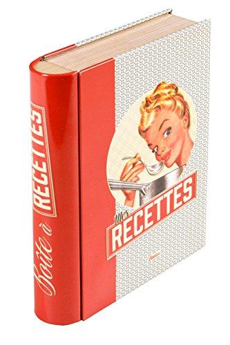 Natives 512010 Livre-Boîte pour Fiches Recettes Métal, Multicolore, 14,5 x 4 x 19 cm