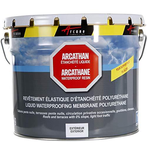 Arcathan-Impermeabilización de techo plano terraza, membrana resina poliuretano, gris