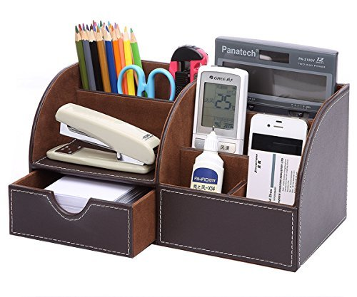 KINGFOM Multifunzionale Portaoggetti da scrivania/ Organizzatore di cancelleria/ Portapenne da Scrivania/ Organizer da scrivania/ Portaoggetti da ufficio in Pelle PU
