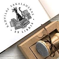 Sello Gato, Pila Libros, Sellos Personalizados, Ex libris, Caja Kraft Regalo Único