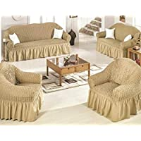 Color Sofas Covers set, Turkish model, 4 pieces, consist of 1 sofa Cover for three seater, 1 sofa Cover for two seater and 2 chair covers, golden