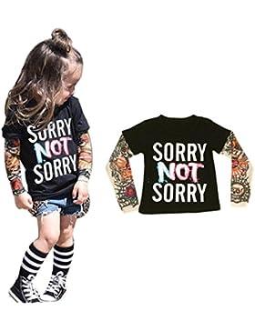 Goodsatar TInfant Niños Pequeños Chico Niña Manga larga Mezcla de algodón Impresión del tatuaje Camisetas de manga...