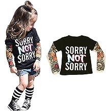 Goodsatar TInfant Niños Pequeños Chico Niña Manga larga Mezcla de algodón Impresión del tatuaje Camisetas de manga larga