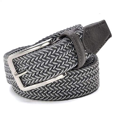 aoliaoyudonggha Men Stretch Waist Canvas Braided Elastic Woven Leather Belt Wide Metal Belts -