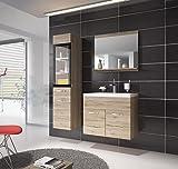 Badezimmer Badmöbel Rio LED 60 cm Waschbecken San Remo - Unterschrank Hochschrank Waschtisch Möbel
