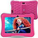 Dragon Touch Y88X Plus Kids Tablet 7 Inch Quad Core Android PC Tablet Android 5.1 Lollipop IPS Screen 1G RAM 8G ROM Wifi Bluetooth Camera Games Unlocked Version of Kidoz & Google Play Pre-Installed (With Pink Silicone Adjustable Stand Case) [2017 New Model]
