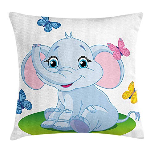 OQUYCZ Nursery Throw Pillow Cushion Cover, Cute Baby Elephant Sitting on The Meadow in Spring Time with Butterflies, Decorative Square Accent Pillow Case, 18 X 18 Inches, Baby Blue Pink Green Butterfly Meadow Box