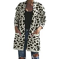 Damen Pullover Mode Frauen Gestrickte Leopardenmuster Langarm Strickjacke T-Shirt Pullover Mantel