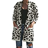 HOOUDO Womens Coat Autumn Winter Warm Fashion Casual Knitted Leopard Print Long Sleeve Cardigan T-Shirt Sweater Overcoat Outwear Coat(M,White)
