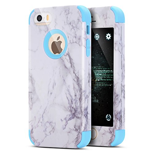 iPhone 8 Hülle,iPhone 7 Hülle,Handyhülle iPhone 8 / iPhone 7 Silikon Hülle,ikasus® [Heavy Duty Full-body] Marble Marmor Muster Hybrid Outdoor Dual Layer Armor Hülle Case Handy Schutzhülle für Apple iP Blau