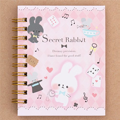 Linda libreta de anillas pequeña rosa con conejito ratón juego de naipes bloc
